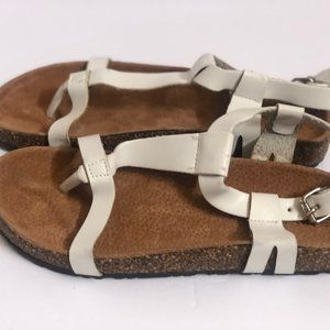 Nature Breeze Sandals 71/2 white Leather T strap